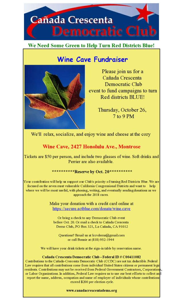 Wine Cave Fundraiser Oct 26